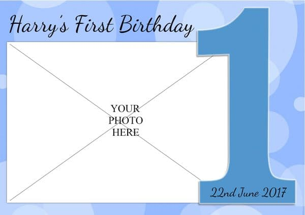 Personalised Boys 1st First Happy Birthday Party PHOTO Banner Poster N75